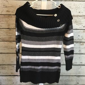 WHBM Cowl Neck Striped Sweater Size Small